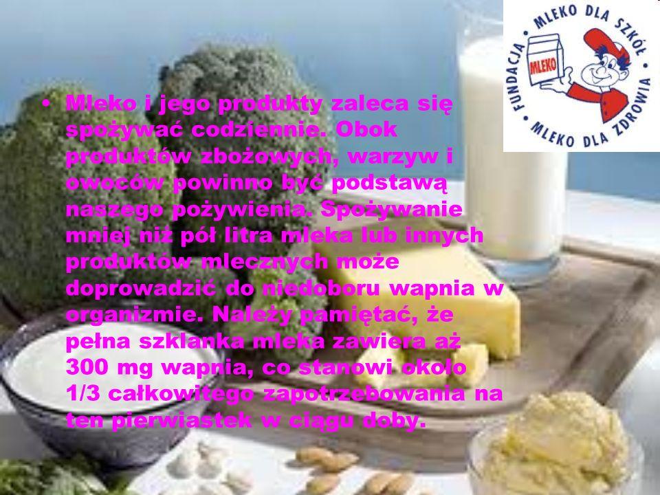 Mleko i jego produkty zaleca się spożywać codziennie