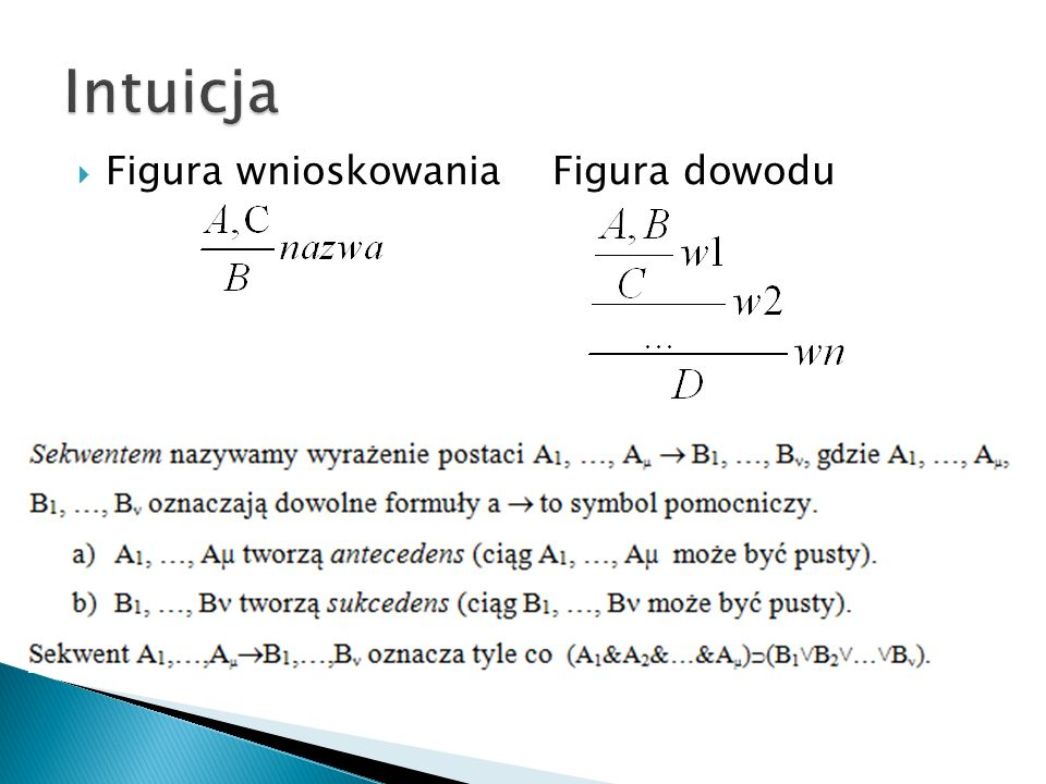 Intuicja Figura wnioskowania Figura dowodu