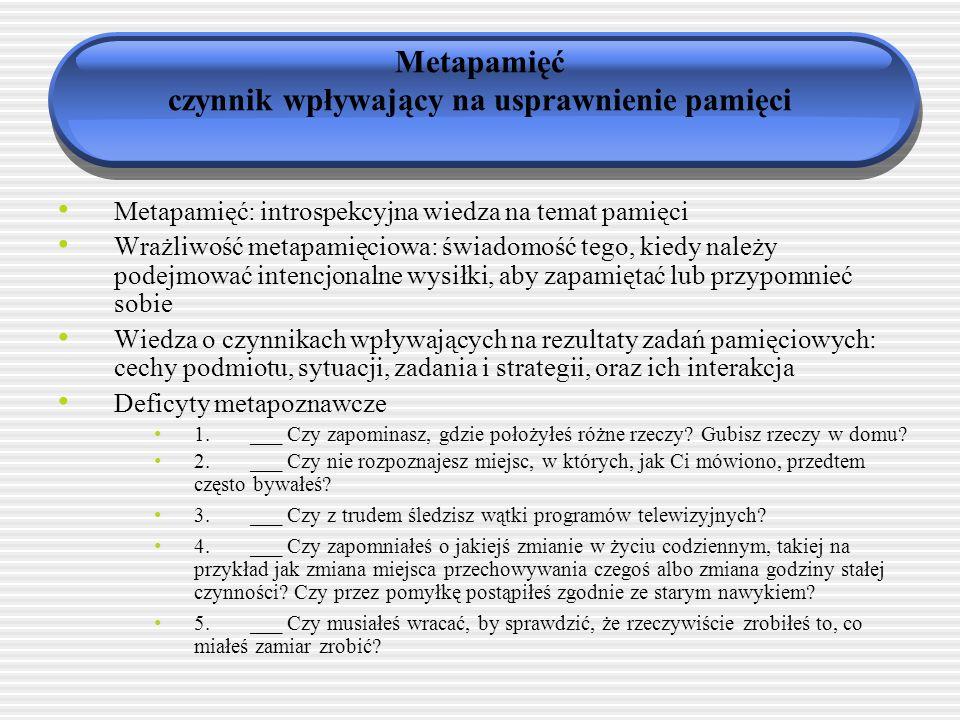 Metapamięć czynnik wpływający na usprawnienie pamięci