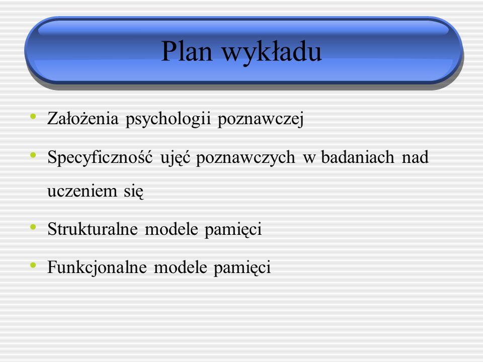 Plan wykładu Założenia psychologii poznawczej