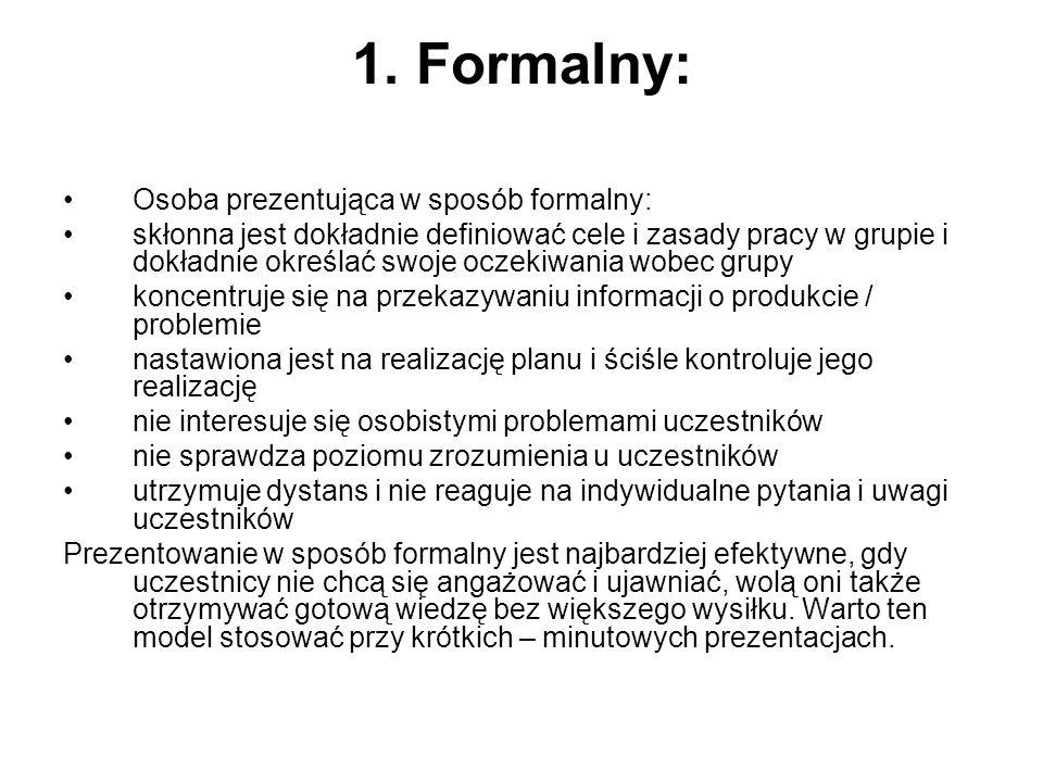 1. Formalny: Osoba prezentująca w sposób formalny: