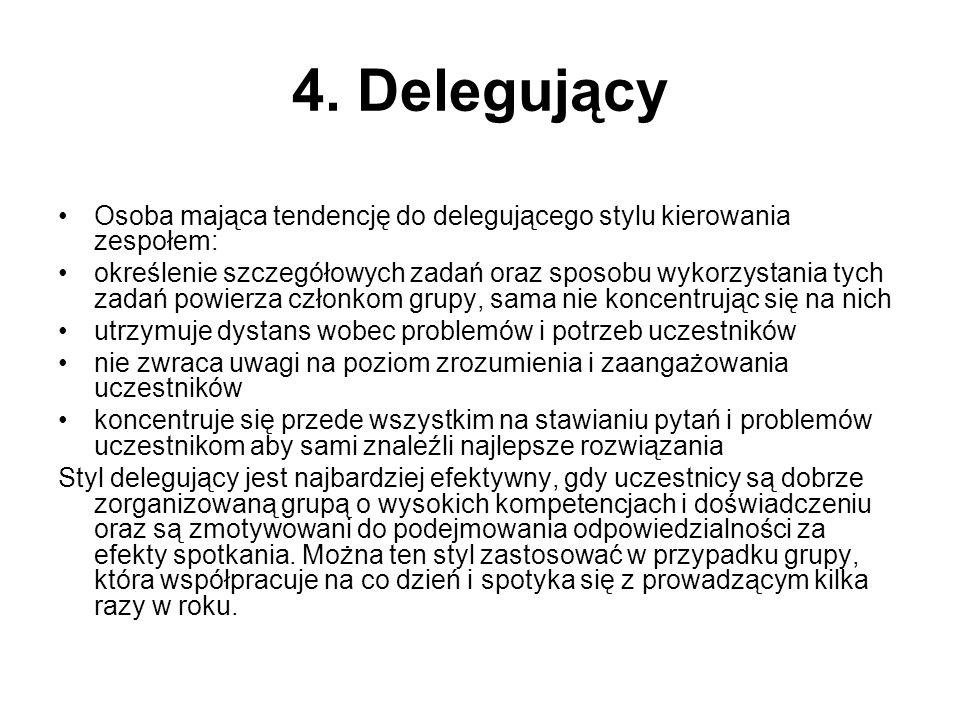 4. Delegujący Osoba mająca tendencję do delegującego stylu kierowania zespołem: