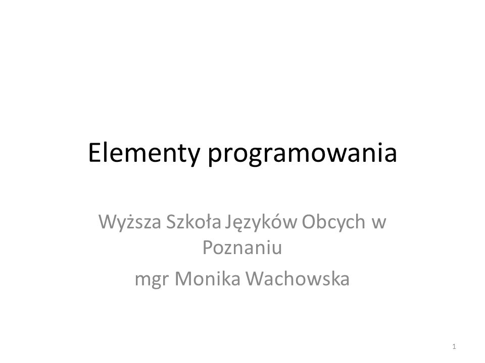 Elementy programowania