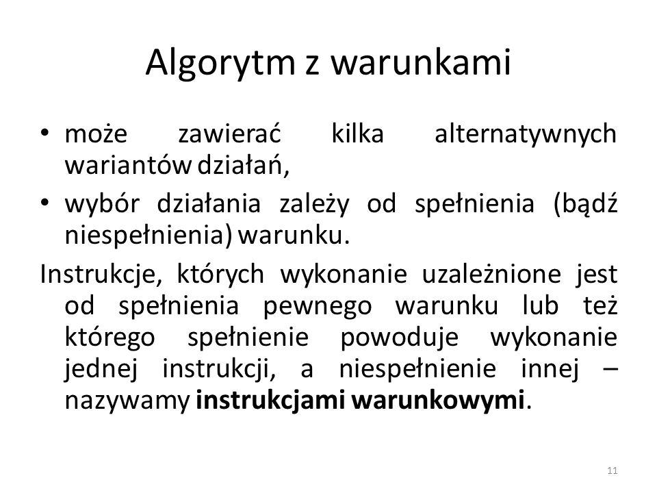 Algorytm z warunkami może zawierać kilka alternatywnych wariantów działań, wybór działania zależy od spełnienia (bądź niespełnienia) warunku.