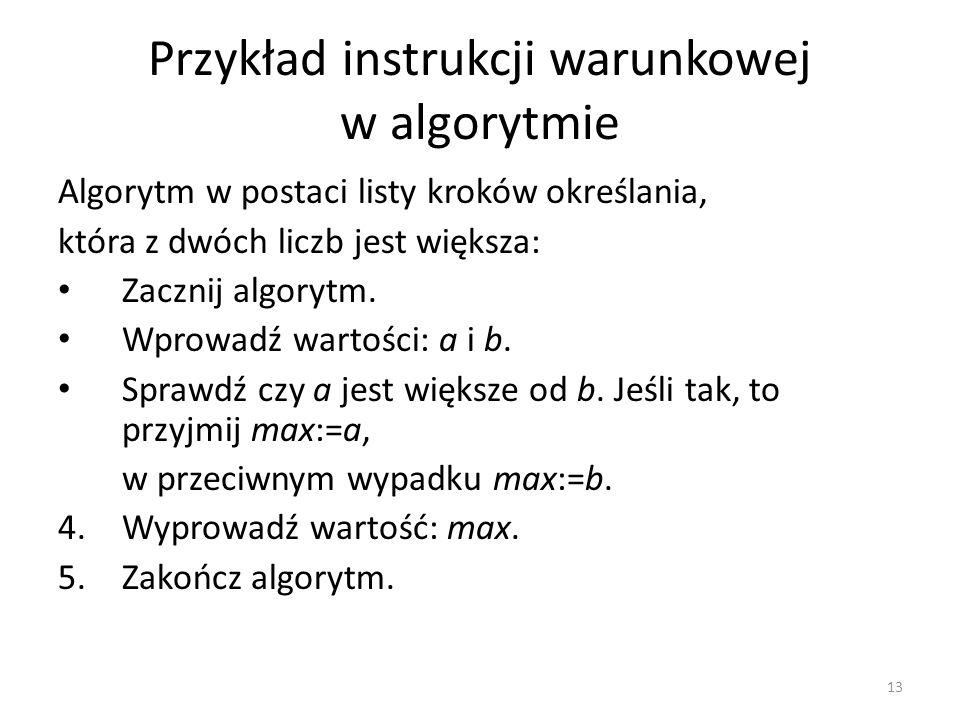 Przykład instrukcji warunkowej w algorytmie