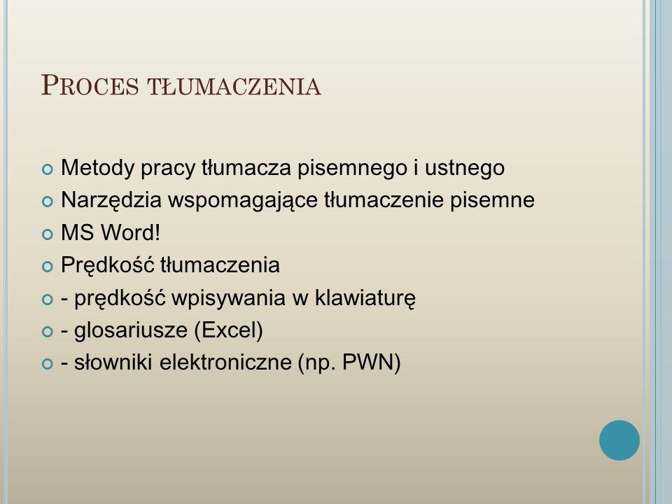 Proces tłumaczenia Metody pracy tłumacza pisemnego i ustnego