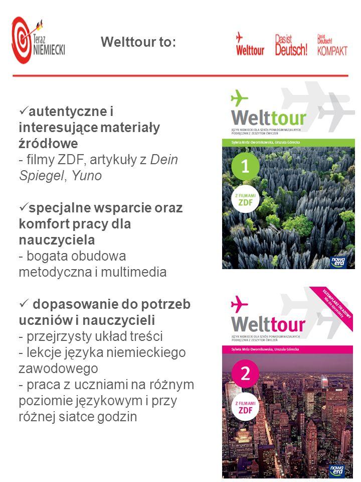 Welttour to:autentyczne i interesujące materiały źródłowe. - filmy ZDF, artykuły z Dein Spiegel, Yuno.