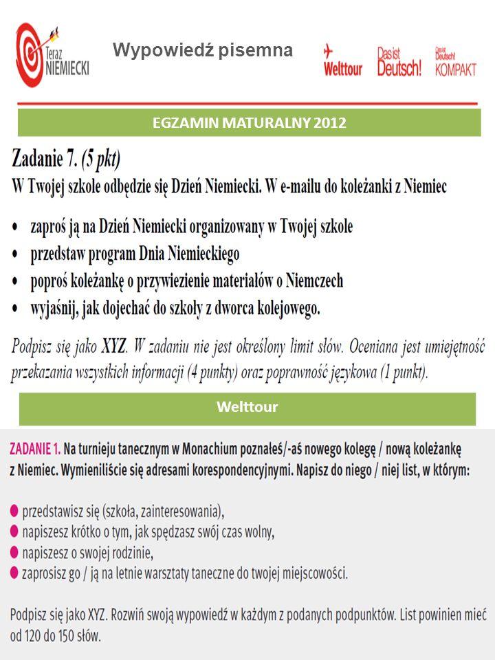 Wypowiedź pisemna EGZAMIN MATURALNY 2012 EGZAMIN GIMNAZJALNY 2012