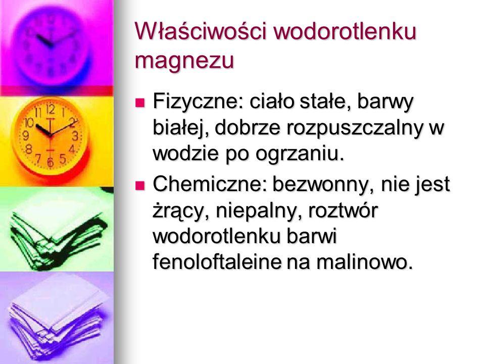 Właściwości wodorotlenku magnezu