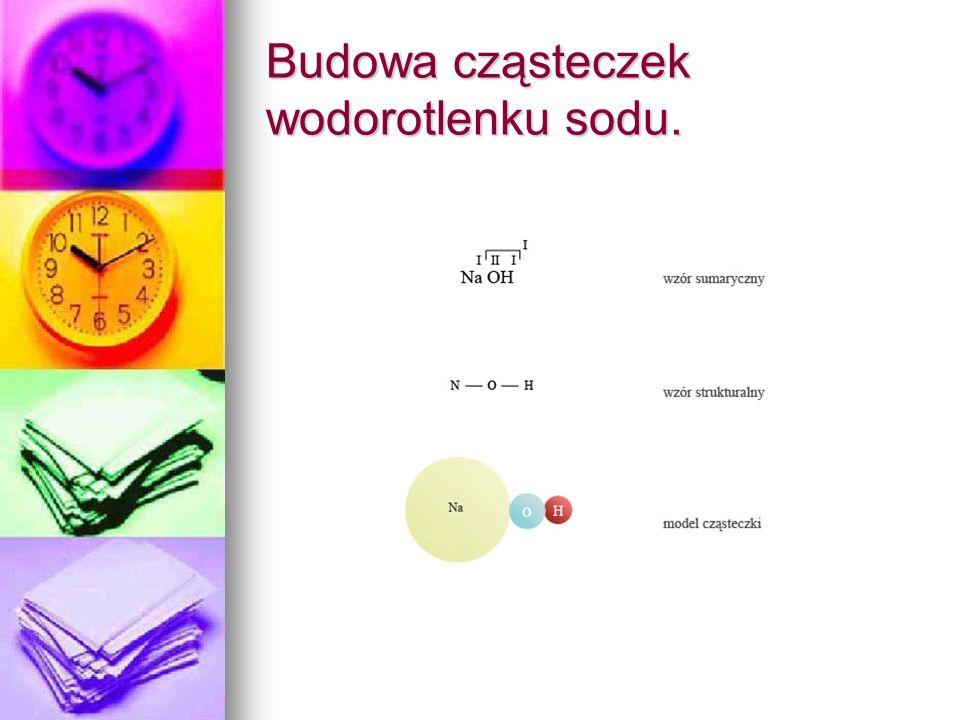 Budowa cząsteczek wodorotlenku sodu.
