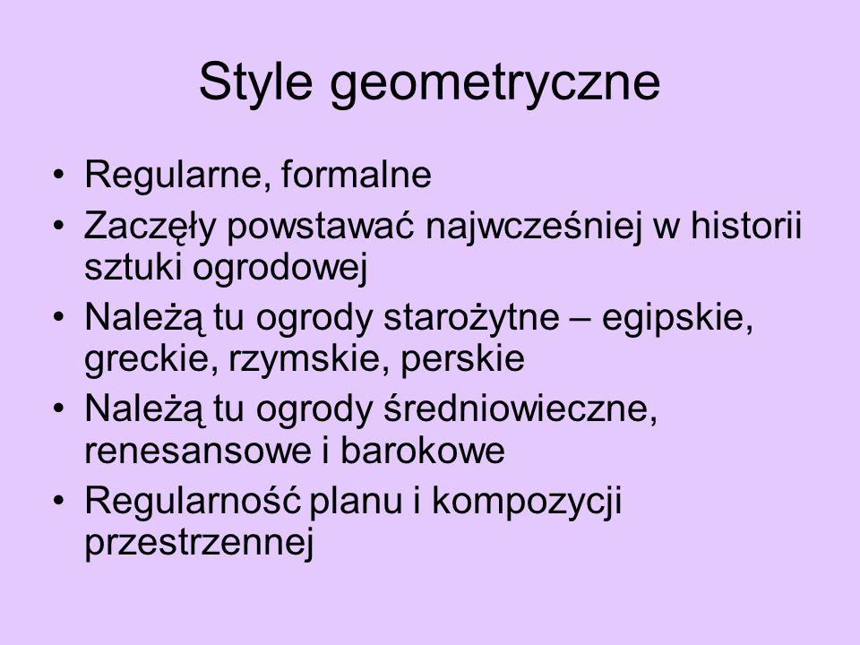 Style geometryczne Regularne, formalne