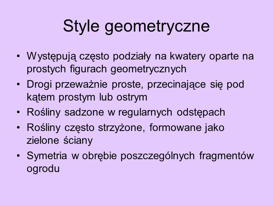 Style geometryczneWystępują często podziały na kwatery oparte na prostych figurach geometrycznych.