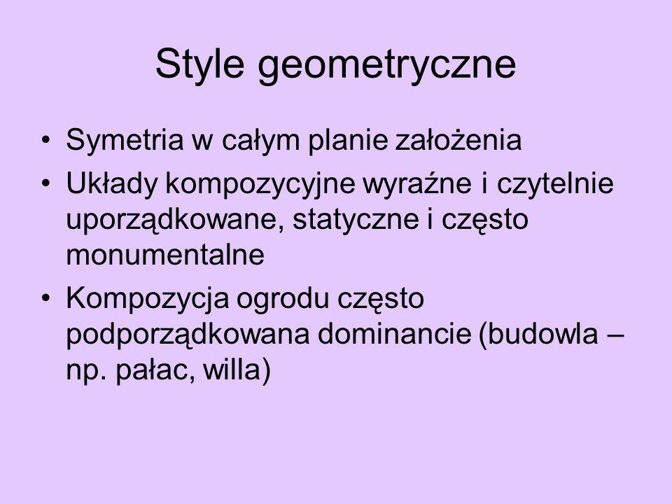 Style geometryczne Symetria w całym planie założenia
