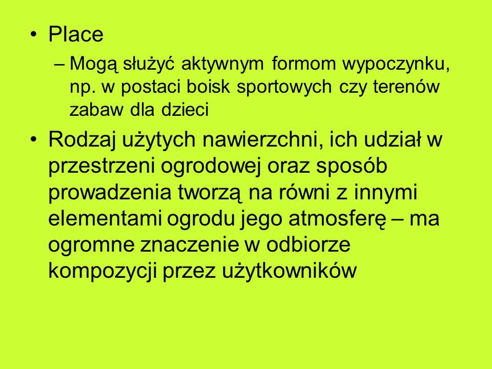 Place Mogą służyć aktywnym formom wypoczynku, np. w postaci boisk sportowych czy terenów zabaw dla dzieci.