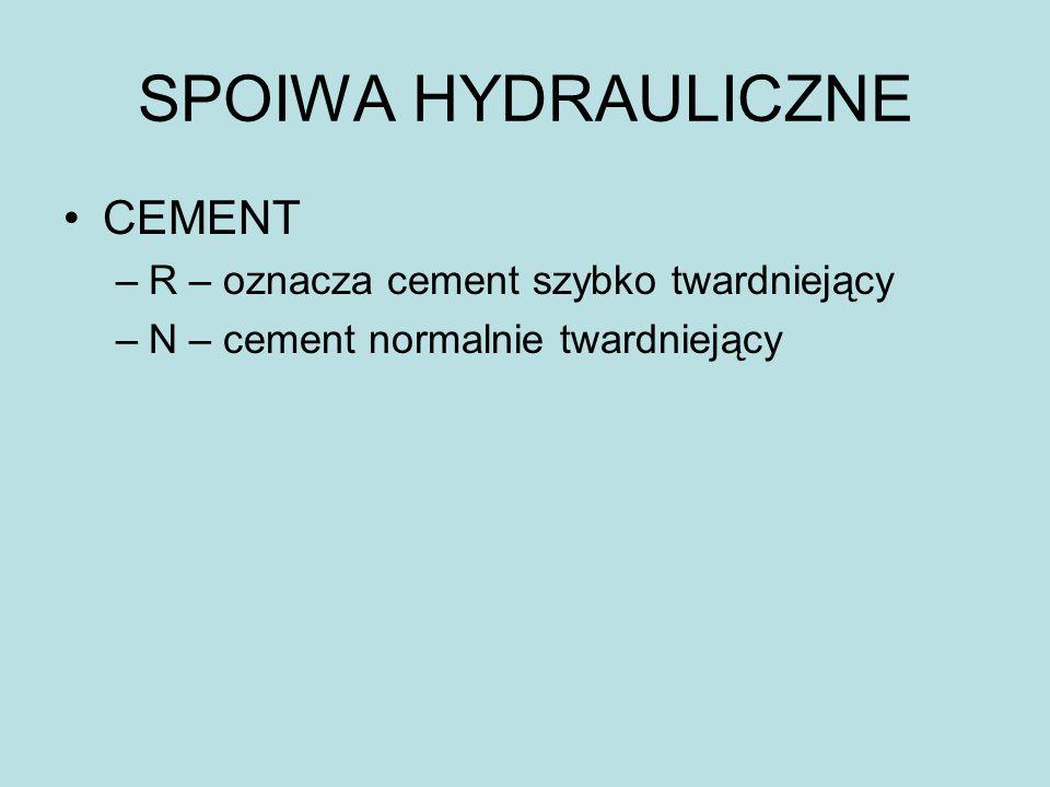 SPOIWA HYDRAULICZNE CEMENT R – oznacza cement szybko twardniejący