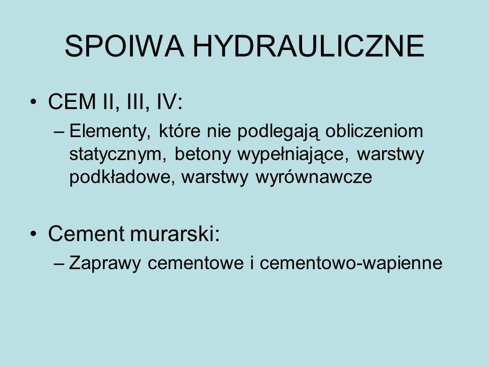 SPOIWA HYDRAULICZNE CEM II, III, IV: Cement murarski: