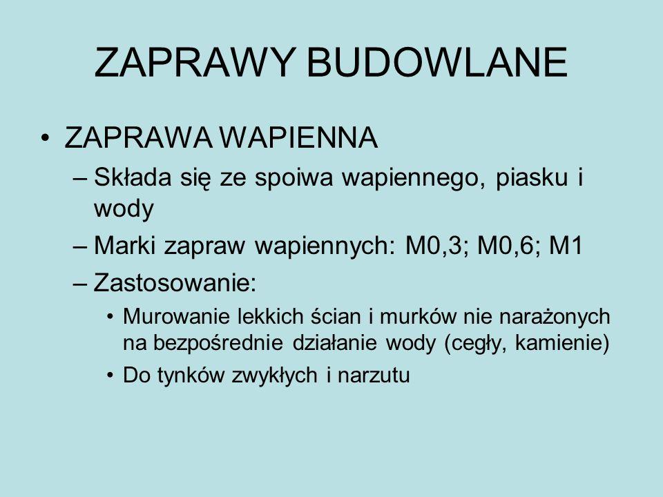 ZAPRAWY BUDOWLANE ZAPRAWA WAPIENNA
