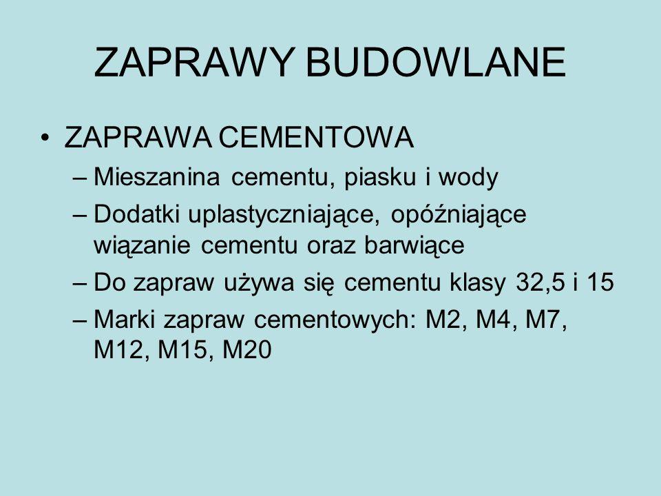 ZAPRAWY BUDOWLANE ZAPRAWA CEMENTOWA Mieszanina cementu, piasku i wody
