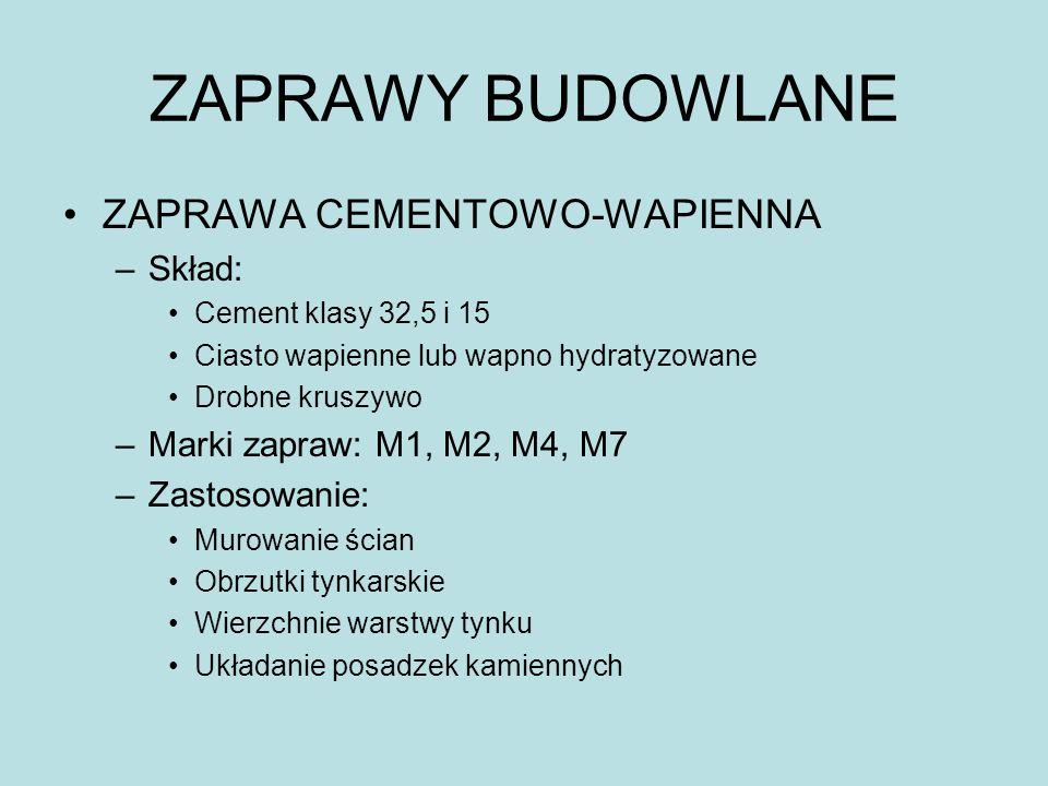 ZAPRAWY BUDOWLANE ZAPRAWA CEMENTOWO-WAPIENNA Skład: