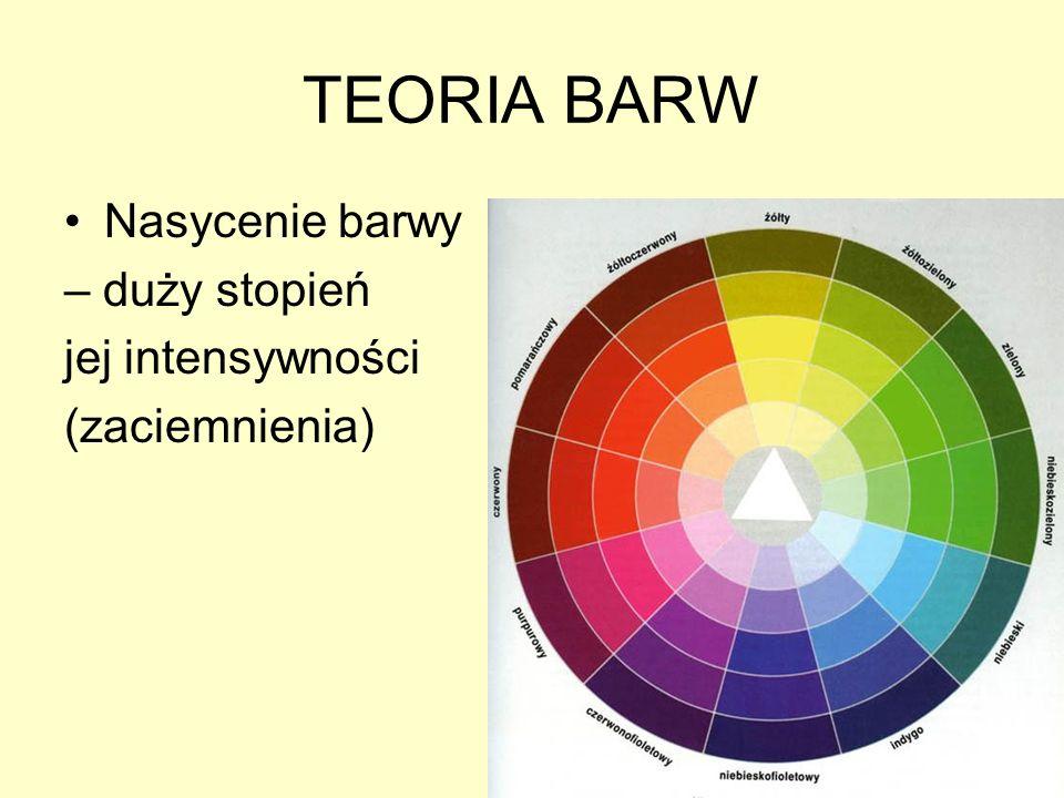 TEORIA BARW Nasycenie barwy – duży stopień jej intensywności