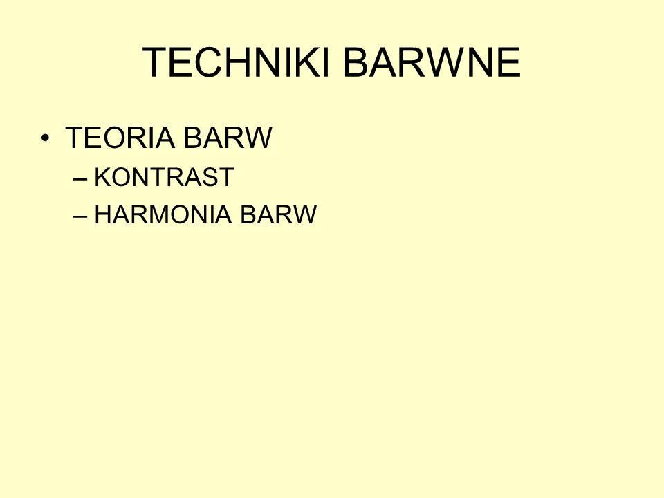 TECHNIKI BARWNE TEORIA BARW KONTRAST HARMONIA BARW