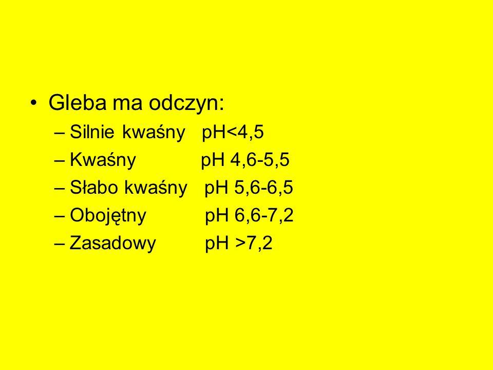 Gleba ma odczyn: Silnie kwaśny pH<4,5 Kwaśny pH 4,6-5,5
