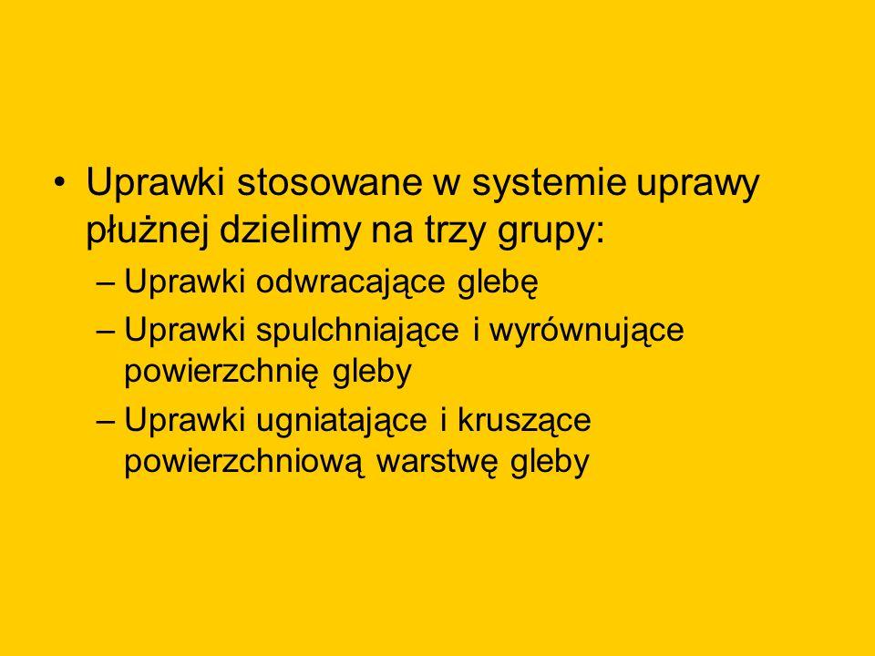 Uprawki stosowane w systemie uprawy płużnej dzielimy na trzy grupy: