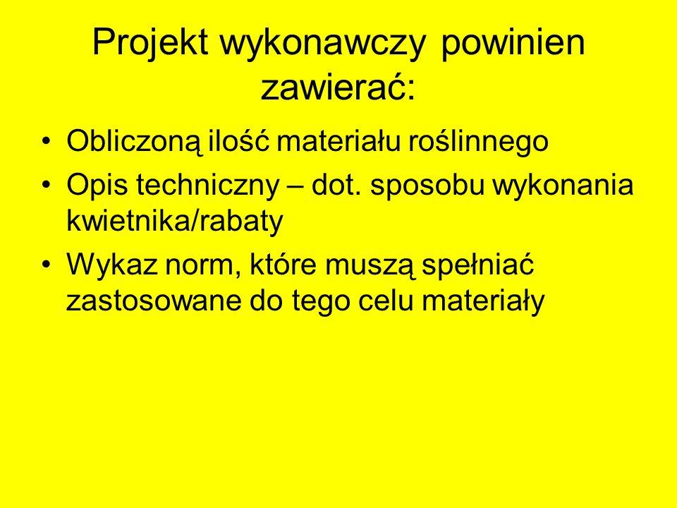 Projekt wykonawczy powinien zawierać: