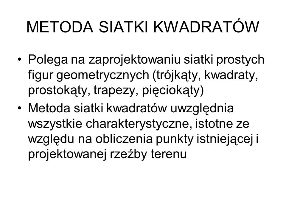 METODA SIATKI KWADRATÓW