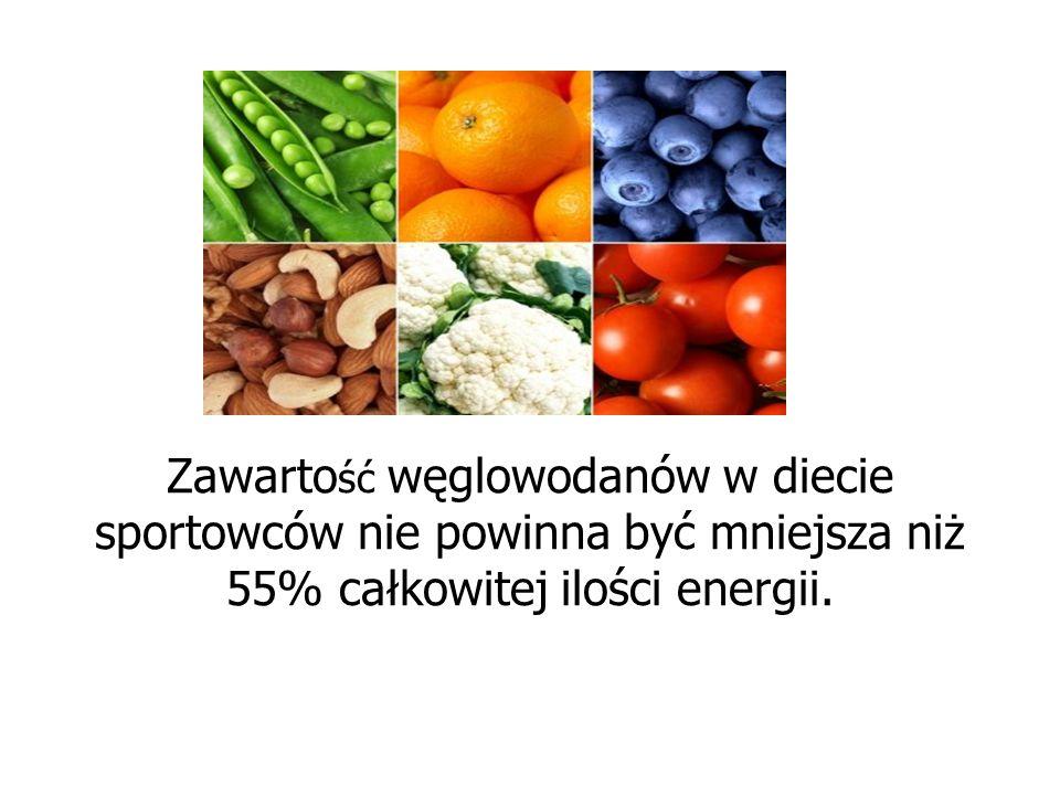 Zawartość węglowodanów w diecie sportowców nie powinna być mniejsza niż 55% całkowitej ilości energii.