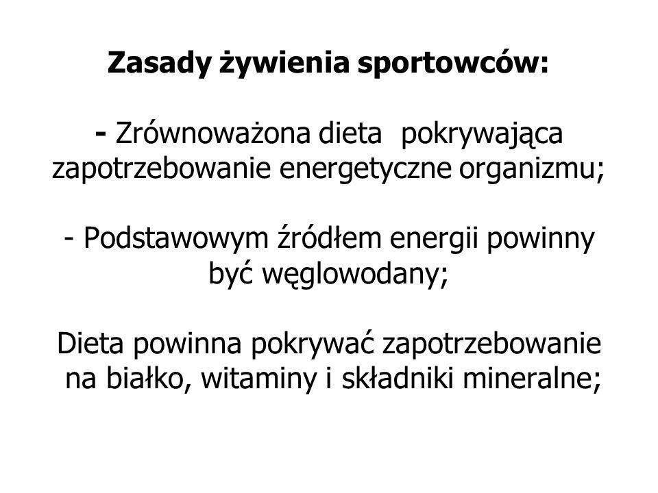 Zasady żywienia sportowców: - Zrównoważona dieta pokrywająca zapotrzebowanie energetyczne organizmu; - Podstawowym źródłem energii powinny być węglowodany; Dieta powinna pokrywać zapotrzebowanie na białko, witaminy i składniki mineralne;
