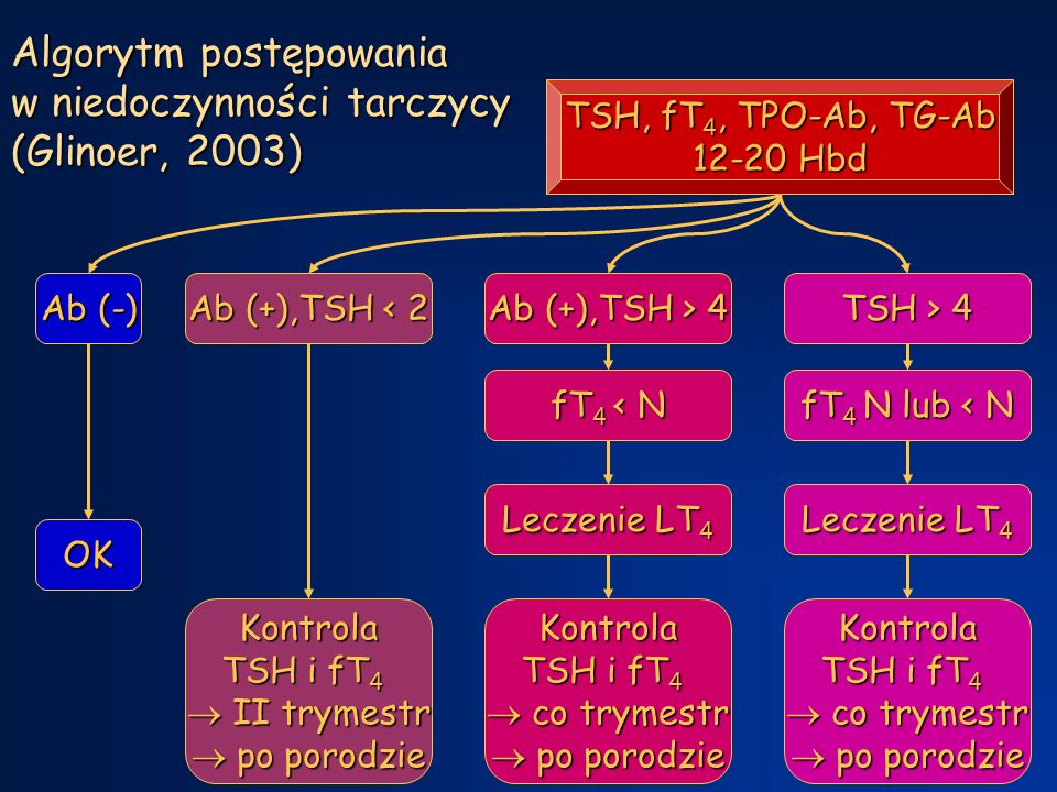 Algorytm postępowania w niedoczynności tarczycy (Glinoer, 2003)