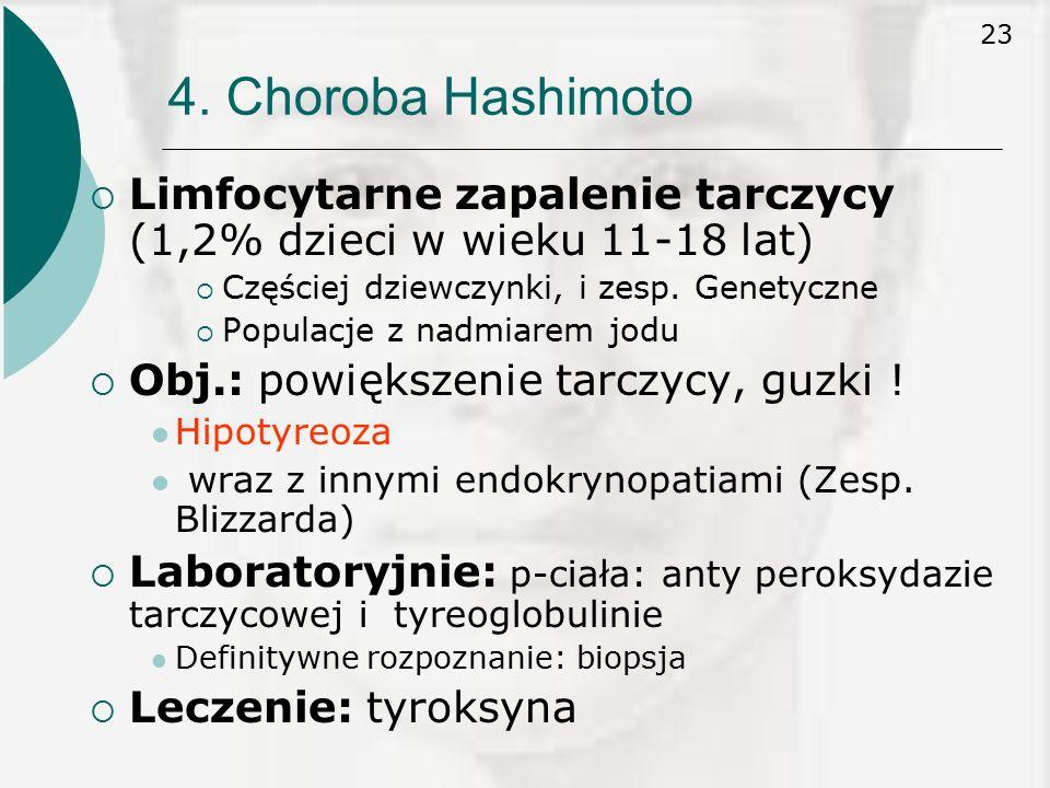 4. Choroba Hashimoto Limfocytarne zapalenie tarczycy (1,2% dzieci w wieku 11-18 lat) Częściej dziewczynki, i zesp. Genetyczne.