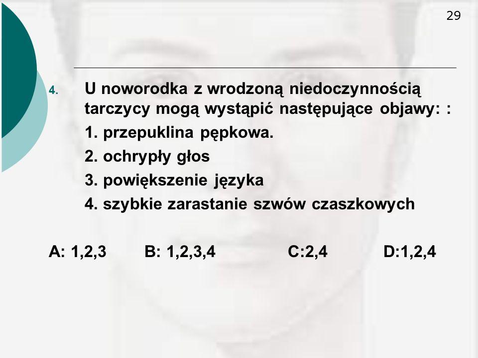 U noworodka z wrodzoną niedoczynnością tarczycy mogą wystąpić następujące objawy: :