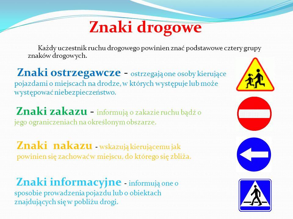 Znaki drogowe Znaki ostrzegawcze - ostrzegają one osoby kierujące