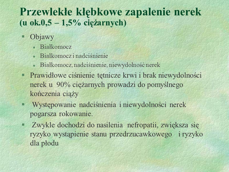 Przewlekłe kłębkowe zapalenie nerek (u ok.0,5 – 1,5% ciężarnych)