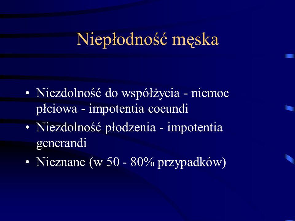 Niepłodność męska Niezdolność do współżycia - niemoc płciowa - impotentia coeundi. Niezdolność płodzenia - impotentia generandi.