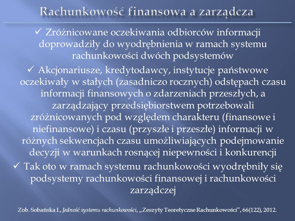 Rachunkowość finansowa a zarządcza