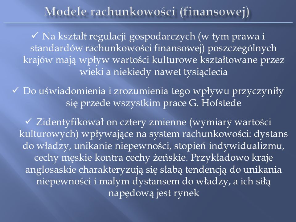 Modele rachunkowości (finansowej)