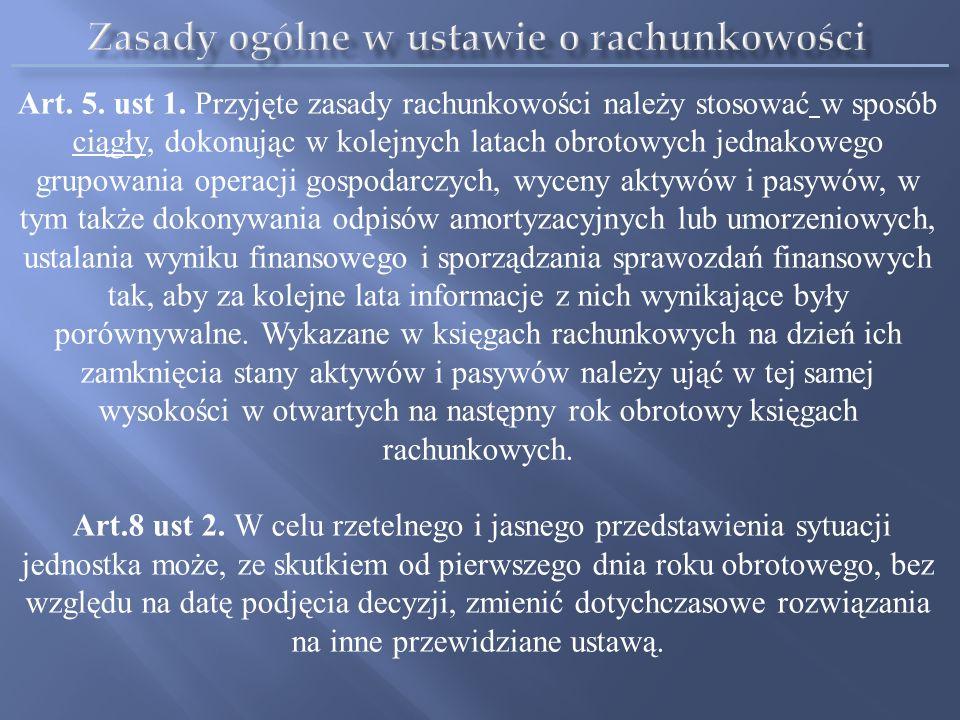 Zasady ogólne w ustawie o rachunkowości