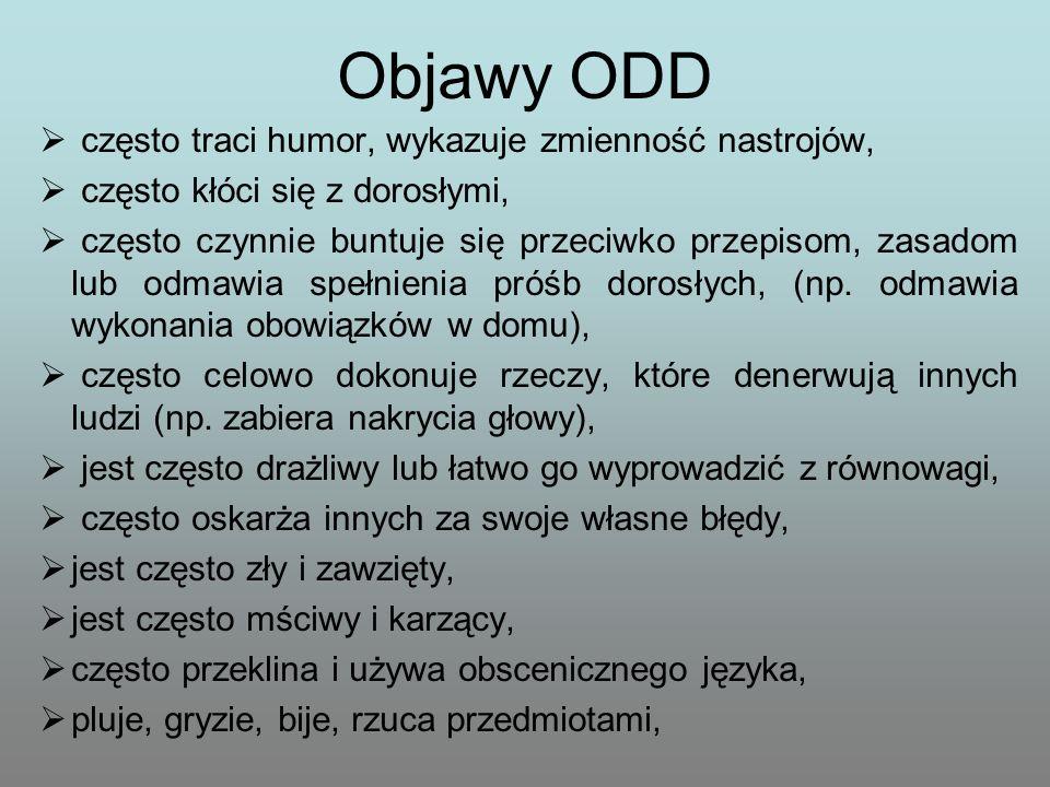 Objawy ODD często traci humor, wykazuje zmienność nastrojów,