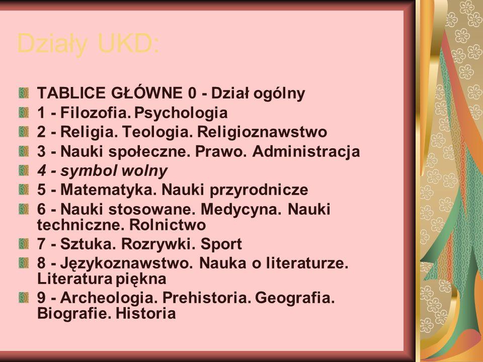Działy UKD: TABLICE GŁÓWNE 0 - Dział ogólny 1 - Filozofia. Psychologia