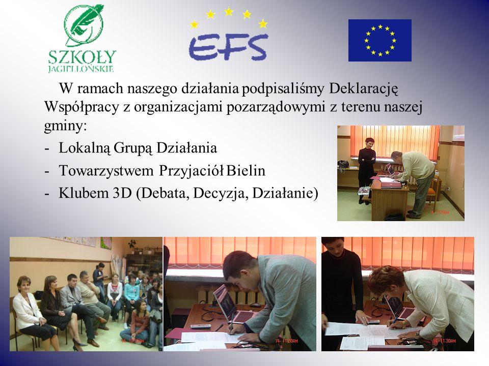 W ramach naszego działania podpisaliśmy Deklarację Współpracy z organizacjami pozarządowymi z terenu naszej gminy: