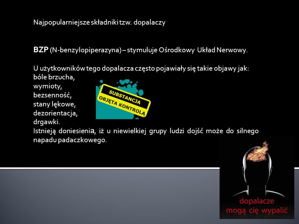 BZP (N-benzylopiperazyna) – stymuluje Ośrodkowy Układ Nerwowy.