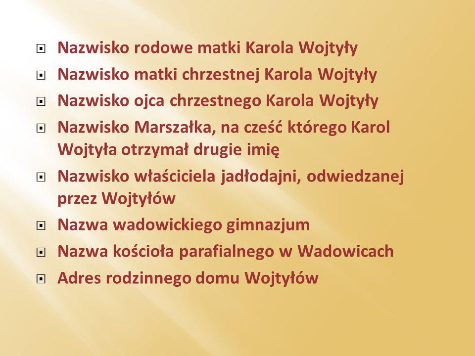 Nazwisko rodowe matki Karola Wojtyły