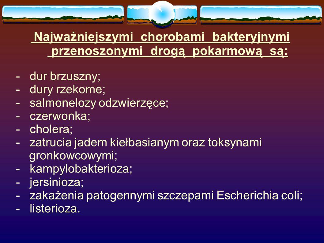 - salmonelozy odzwierzęce; - czerwonka; - cholera;