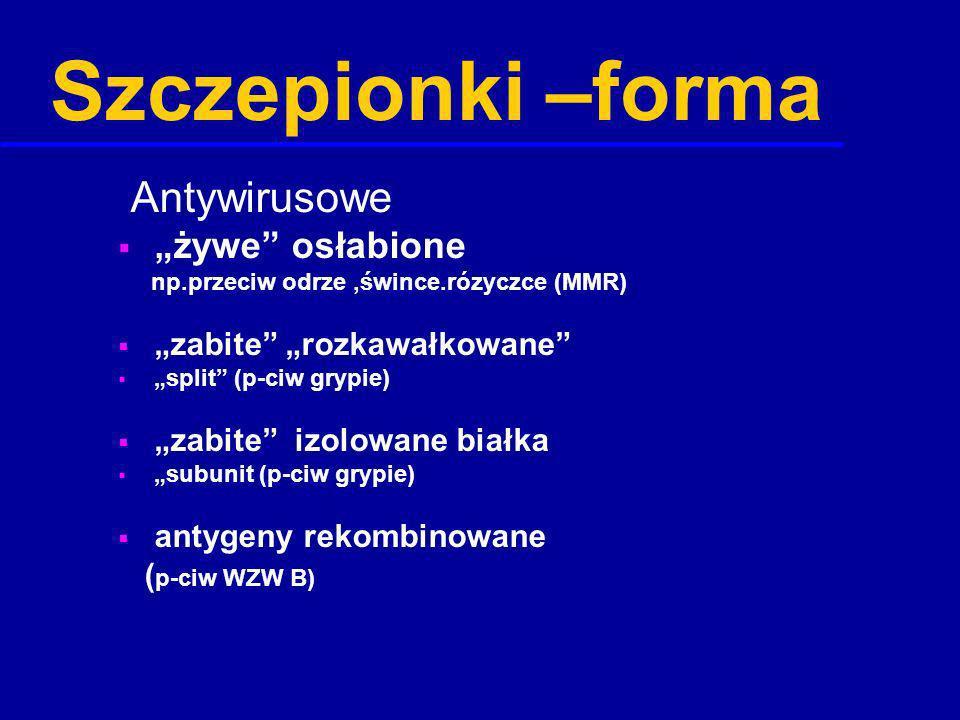 """Szczepionki –forma Antywirusowe """"żywe osłabione"""