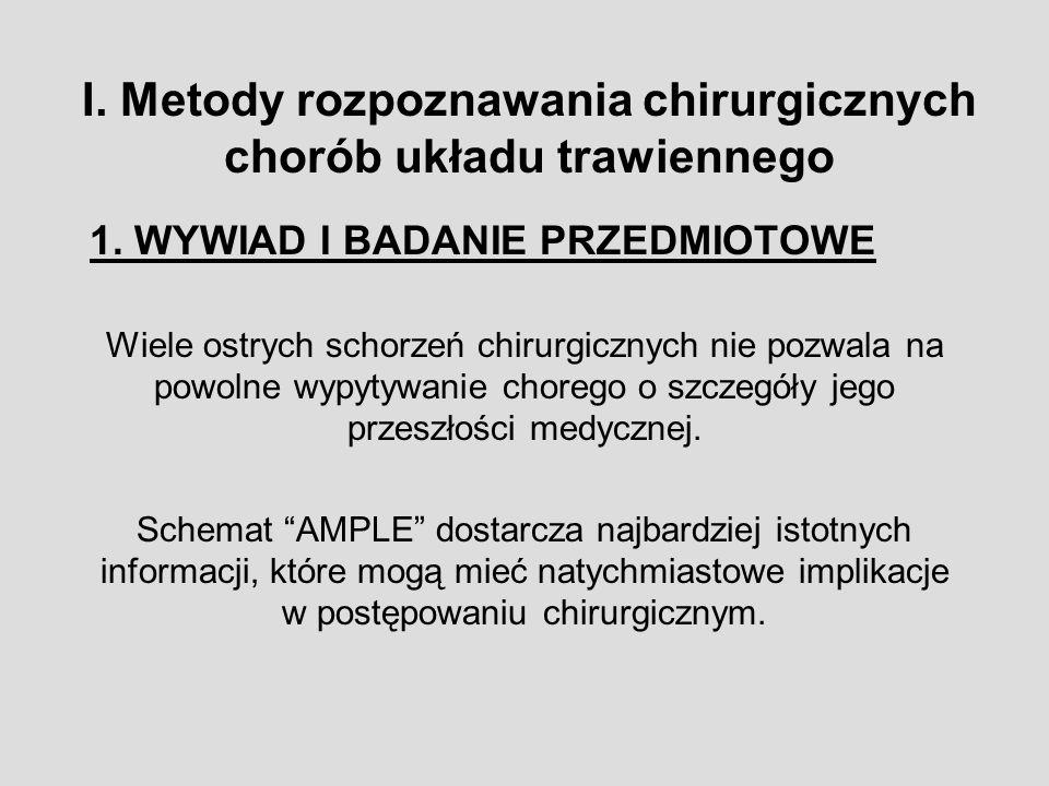 I. Metody rozpoznawania chirurgicznych chorób układu trawiennego
