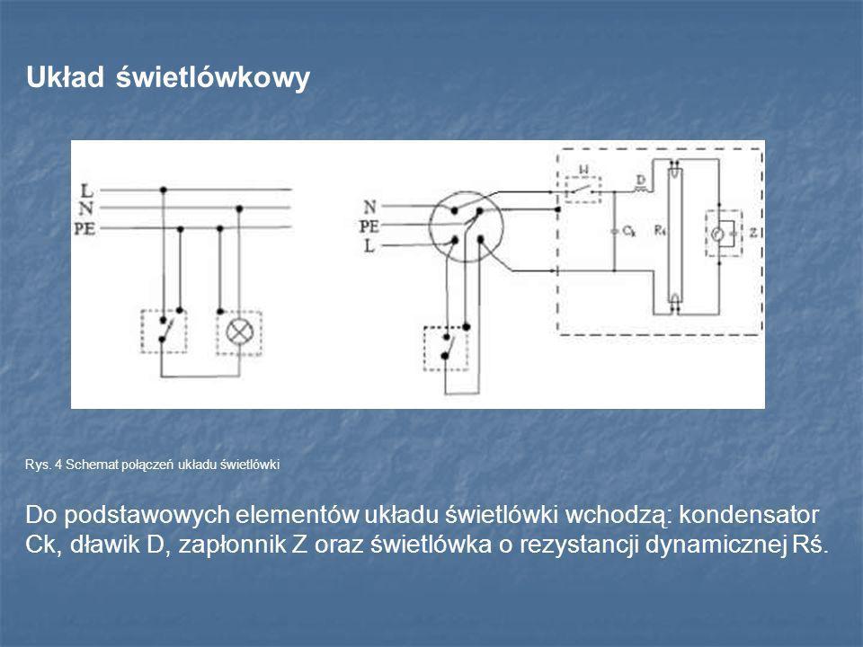 Układ świetlówkowy Rys. 4 Schemat połączeń układu świetlówki