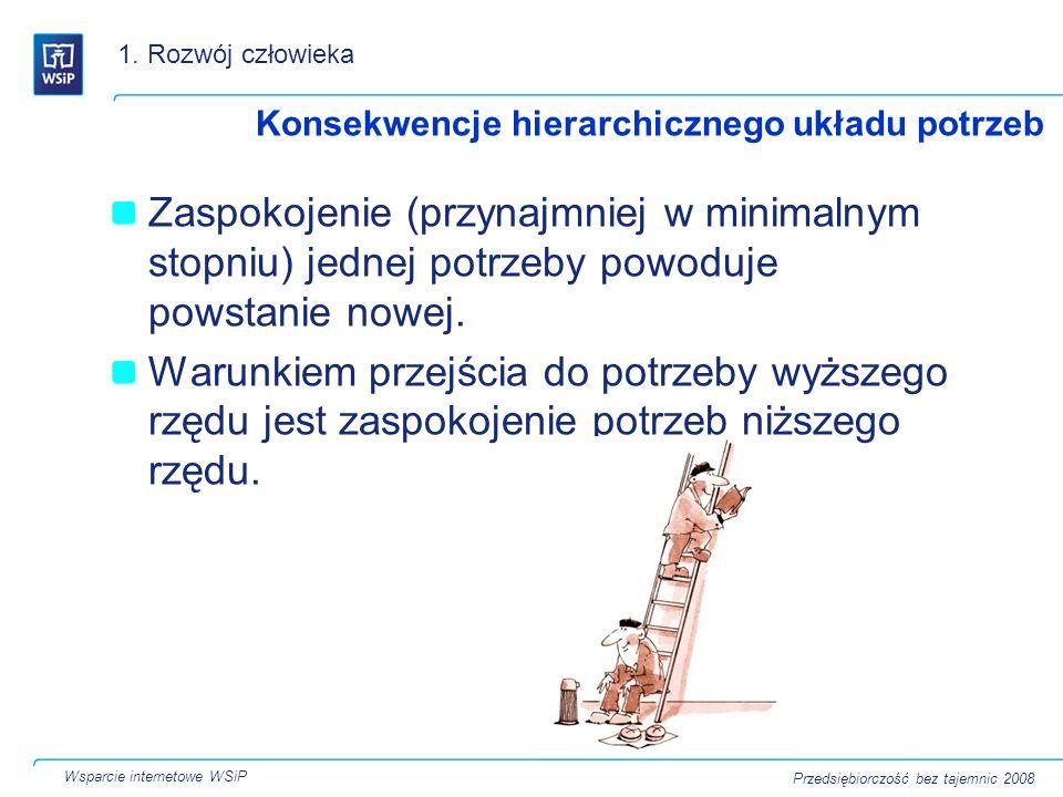 1. Rozwój człowiekaKonsekwencje hierarchicznego układu potrzeb.